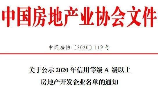 关于公示2020年信用等级A级以上房地产开发企业名单的通知