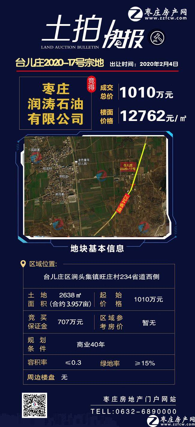 枣庄润涛石油有限公司竞得枣庄2021年土拍第一宗地!